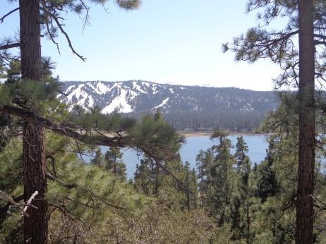 View of the lake and Snow Summit Ski Resort